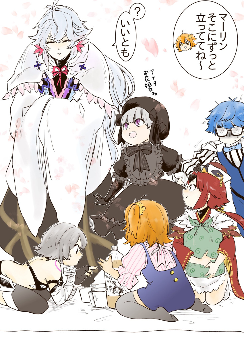 2boys 4girls ahoge bandaged_arm bandages bangs bare_shoulders benienma_(fate/grand_order) beret black_bow black_dress black_gloves black_headwear blue_hair blue_neckwear bow bowtie braid child commentary_request cup disposable_cup dress fate/grand_order fate_(series) fujimaru_ritsuka_(female) fur_trim glasses gloves hair_between_eyes hair_ornament hair_scrunchie hans_christian_andersen_(fate) hat highres holding jack_the_ripper_(fate/apocrypha) japanese_clothes kimono leonardo_da_vinci_(fate/grand_order) long_hair long_sleeves low_ponytail merlin_(fate) messy_hair multiple_boys multiple_girls nursery_rhyme_(fate/extra) open_mouth orange_hair parted_bangs pink_ribbon ponytail red003 redhead revealing_clothes ribbon robe scrunchie short_hair side_ponytail silver_hair smile soda_bottle suspenders sweatdrop thigh-highs translation_request twin_braids very_long_hair vest violet_eyes white_hair wide_sleeves yellow_scrunchie younger