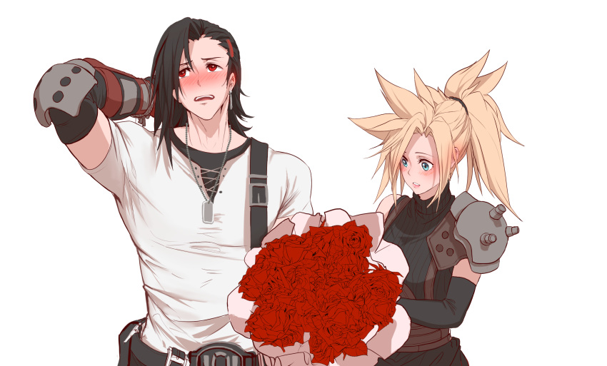 1boy 1girl arm_behind_head asymmetrical_clothes asymmetrical_hair black_hair blonde_hair blue_eyes bouquet cloud_strife dishwasher1910 dog_tags earrings elbow_gloves final_fantasy final_fantasy_vii flower genderswap genderswap_(ftm) genderswap_(mtf) gloves hair_ornament hairclip highres jewelry ponytail red_eyes rose shoulder_armor simple_background sleeveless sleeveless_turtleneck spiky_hair suspenders tifa_lockhart turtleneck white_background