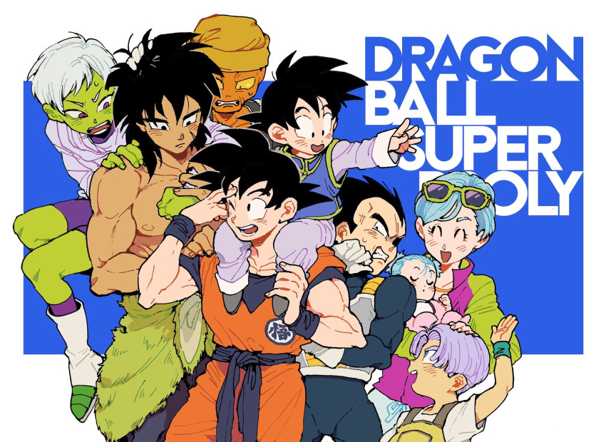 3girls 6+boys ;d ^_^ anger_vein annoyed armor baby black_eyes black_hair blue_background blue_eyes blush boots bra_(dragon_ball) broly_(dragon_ball_super) brother_and_sister bulma carrying cheelai closed_eyes clothes_around_waist copyright_name dark_skin dark_skinned_male dougi dragon_ball dragon_ball_super_broly expressionless eyewear_on_head facial_scar father_and_son fingernails green_skin grey_hair gutstemple hand_on_another's_head hand_on_another's_shoulder hand_to_forehead hand_up happy hat highres holding holding_baby jacket lemo_(dragon_ball) looking_at_another mother_and_daughter mother_and_son multiple_boys multiple_girls nipples one_eye_closed open_mouth orange_skin outstretched_arm overalls purple_hair purple_legwear scar scar_on_cheek shirt shirtless short_hair shoulder_carry siblings simple_background sleeping smile son_gokuu son_goten spiky_hair sunglasses sweatdrop teeth trunks_(dragon_ball) twintails two-tone_jacket v-shaped_eyebrows vegeta very_short_hair violet_eyes white_background white_footwear white_shirt wristband