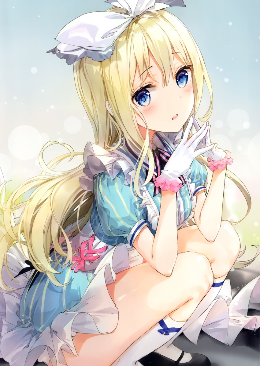 1girl absurdres alice_(wonderland) alice_in_wonderland apron bangs black_footwear blonde_hair blue_dress blue_eyes blush bow dress eyebrows_visible_through_hair fingers_together frilled_apron frills fuumi_(radial_engine) gloves hair_bow hair_ribbon highres kneehighs long_hair looking_at_viewer mary_janes original own_hands_together parted_lips puffy_short_sleeves puffy_sleeves ribbon scan shoes short_sleeves solo steepled_fingers striped vertical-striped_dress vertical_stripes white_bow white_gloves white_legwear