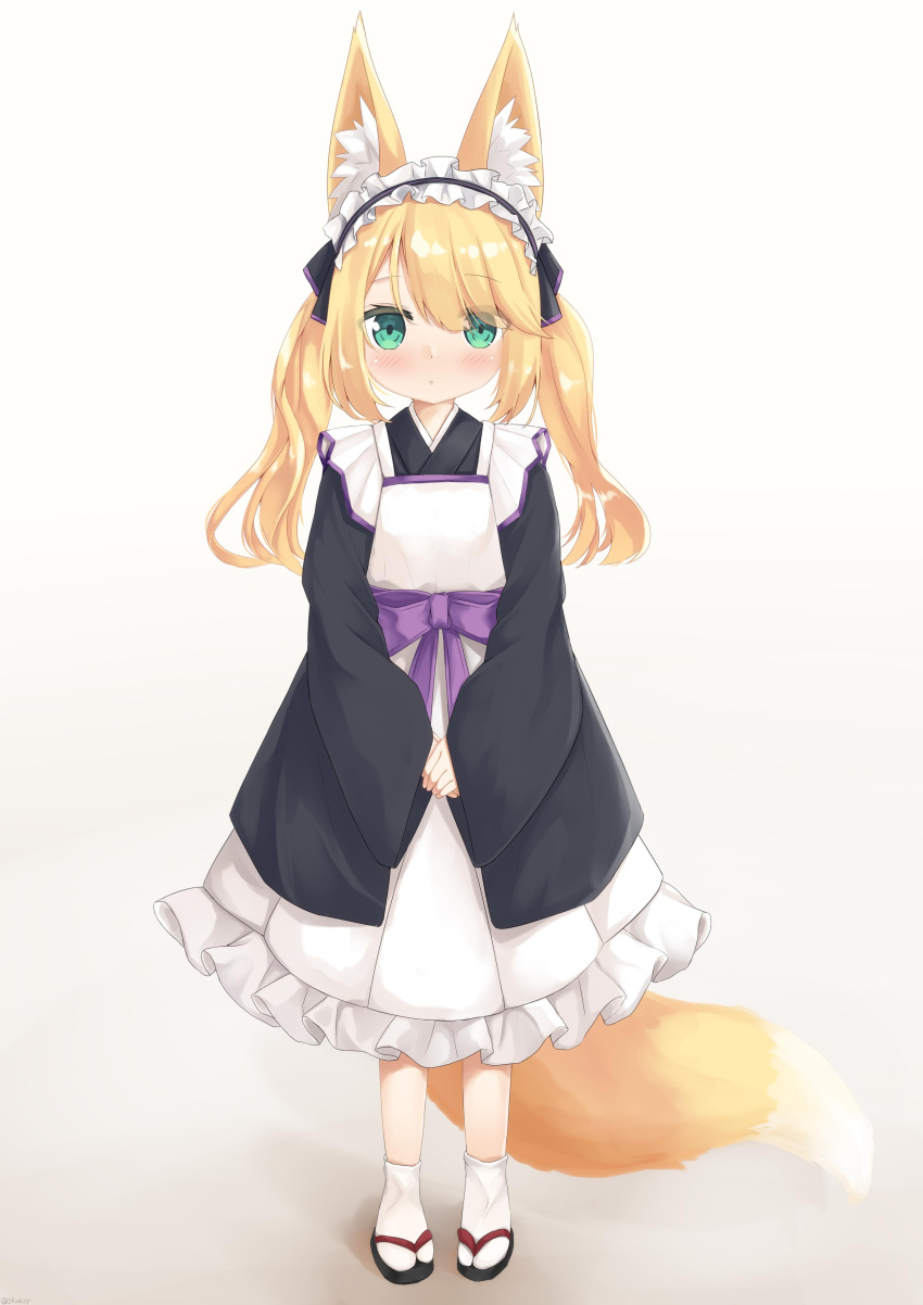 1girl absurdres animal_ear_fluff animal_ears apron black_kimono blonde_hair blush expressionless fox_ears fox_tail frilled_kimono frilled_skirt frills full_body hair_ribbon hands_together highres japanese_clothes kimono long_hair long_sleeves maid_apron maid_headdress original own_hands_together ribbon sakuma_hiragi sandals skirt tabi tail wa_maid wide_sleeves