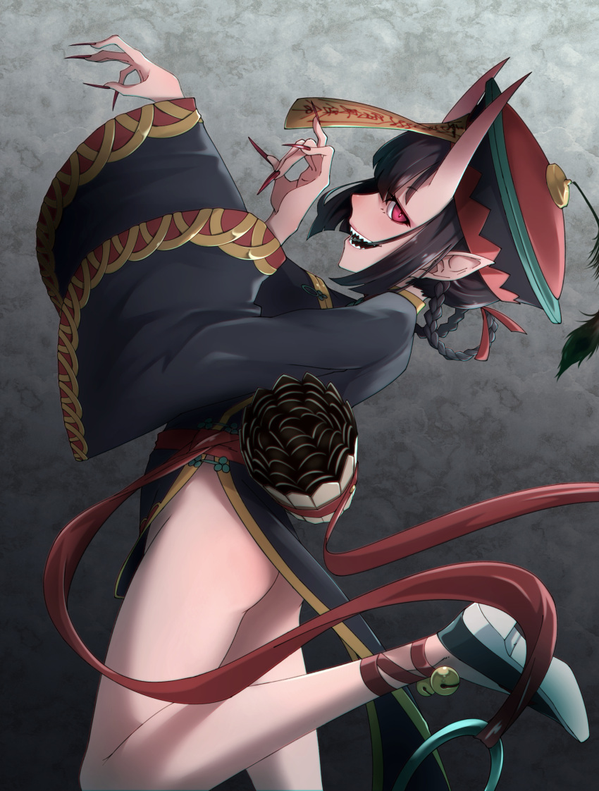 1girl absurdres ankle_bell ankle_ribbon ass bangs bell black_dress black_hair black_jacket blunt_bangs braid china_dress chinese_clothes dress evil_smile eyeshadow fangs fate/grand_order fate_(series) fingernails foot_up from_side hair_ribbon hair_rings hat hat_feather highres horns jacket jiangshi jingle_bell long_fingernails long_sleeves makeup no_panties ofuda oni oni_horns open_mouth outstretched_arms peacock_feathers pelvic_curtain pointy_ears red_eyes red_nails red_ribbon ribbon sakugetsu sash sharp_teeth shoes shuten_douji_(fate/grand_order) smile teeth twin_braids wide_sleeves zombie_pose