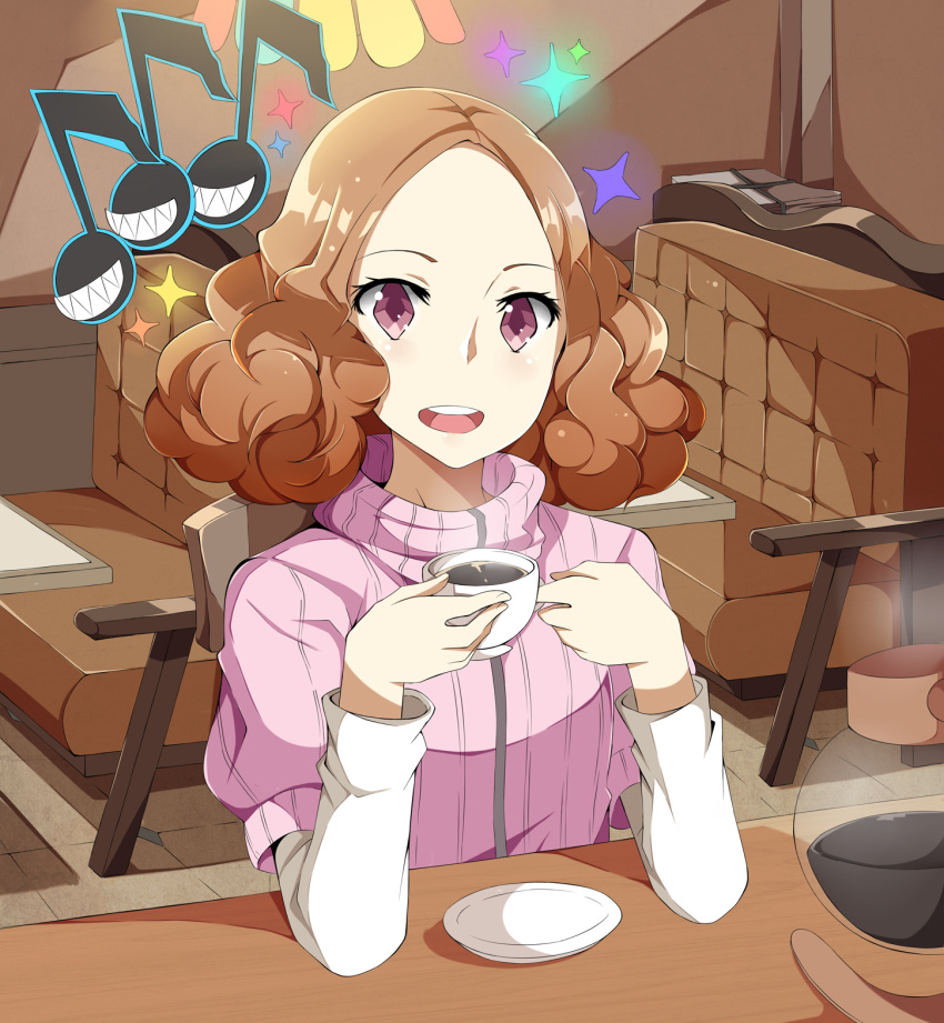 1girl :d atlus brown_eyes brown_hair chair coffee coffee_pot cup eighth_note elbows_on_table highres indoors long_sleeves looking_at_viewer megami_tensei musical_note okumura_haru olly_(ollycrescent) open_mouth persona persona_5 pink_sweater plate ribbed_sweater short_hair smile sparkle sweater