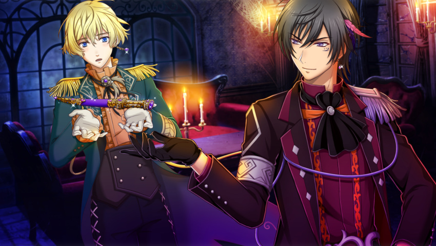 2boys ali_pasha_(senjuushi) alternate_costume bangs black_gloves black_hair blonde_hair blue_eyes blush bolo_tie candle corset cravat dagger dark_skin dark_skinned_male epaulettes esen_(senjuushi) facial_tattoo feathers formal game_cg gem gloves hair_feathers high_collar highres indoors jewelry male_focus multiple_boys official_art screencap senjuushi:_the_thousand_noble_musketeers short_hair single_earring smile tattoo violet_eyes weapon white_gloves