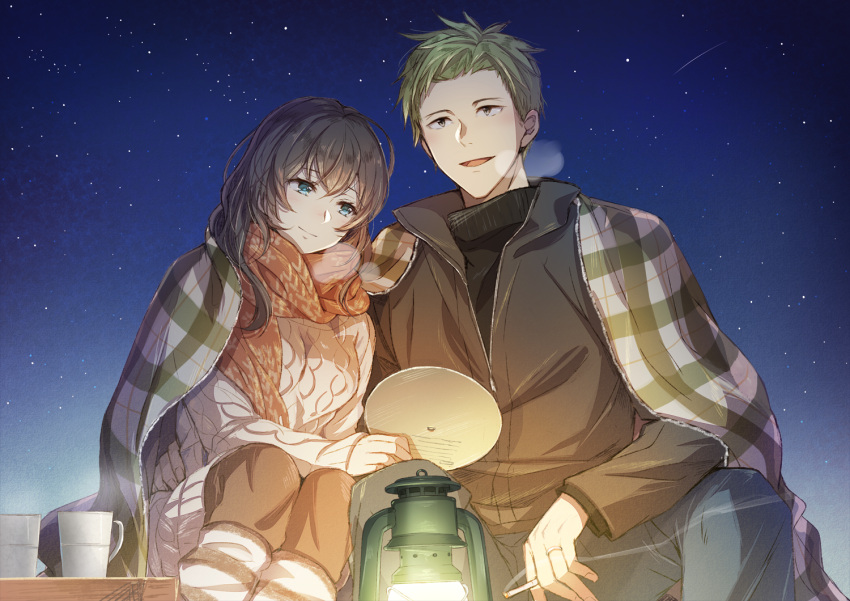1boy 1girl :d aran_sweater bangs blue_eyes blue_pants blush brown_hair brown_jacket brown_pants brown_scarf cigarette closed_mouth commentary couple cup eyebrows_visible_through_hair fingernails green_hair grey_hair hair_between_eyes holding holding_cigarette ii_fuufu_no_hi jacket jewelry lantern leg_warmers long_hair long_sleeves mono_lith night night_sky open_mouth original outdoors pants plaid revision ring scarf sitting sky sleeves_past_wrists smile smoke star_(sky) starry_sky sweater wedding_band white_sweater