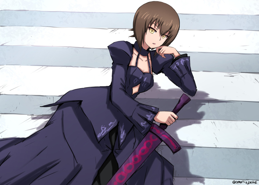 1girl absurdres alternate_eye_color artoria_pendragon_(all) bangs black_dress brown_hair chin_rest commentary cosplay dark_excalibur dress elbow_rest empty_eyes eyebrows_visible_through_hair fate/stay_night fate_(series) from_side girls_und_panzer highres holding holding_sword holding_weapon juliet_sleeves long_dress long_sleeves looking_at_viewer nishizumi_maho omachi_(slabco) parted_lips puffy_sleeves road saber_alter saber_alter_(cosplay) shadow short_hair shrug_(clothing) solo stomach_cutout street sword twitter_username weapon yellow_eyes