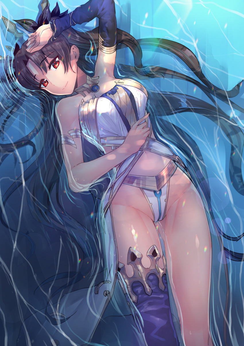 1girl asymmetrical_legwear black_bow blue_legwear blue_sleeves bow bracelet breasts brown_hair chung_cthemax closed_mouth detached_sleeves eyebrows_visible_through_hair fate/grand_order fate_(series) from_above groin hair_bow highleg highleg_panties highres ishtar_(fate/grand_order) jewelry long_hair long_sleeves looking_at_viewer lying medium_breasts midriff navel on_back panties red_eyes single_sleeve single_thighhigh smile solo stomach thigh-highs underwear very_long_hair water white_panties
