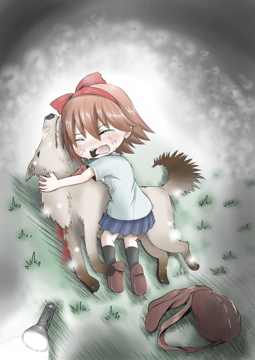 absurdres animal backpack bag blood blush bow child commentary crying death dog flashlight grass hair_bow hairband highres hug injury kneehighs light_particles night open_mouth protagonist_(yomawari) sad shirt skirt sobbing t-shirt tears toryo_(sinsei2413) yomawari yomawari:_night_alone