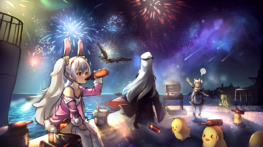 >_< 4girls aerial_fireworks ahoge anger_vein animal animal_ear_fluff animal_ears apron arm_up azur_lane bangs bare_shoulders bird black_dress black_footwear black_jacket black_sleeves blonde_hair blue_eyes bottle camisole cat_ears chick closed_eyes collarbone commentary_request detached_sleeves dress drinking eagle eldridge_(azur_lane) electricity enterprise_(azur_lane) eyebrows_visible_through_hair facing_away fireworks fishing fishing_line fishing_rod flying frilled_dress frills hair_between_eyes hairband hammann_(azur_lane) hat highres holding holding_bottle horizon jacket laffey_(azur_lane) long_hair long_sleeves manjuu_(azur_lane) miya_(pixiv15283026) multiple_girls night night_sky ocean off_shoulder open_clothes open_jacket open_mouth outdoors outstretched_arm pantyhose peaked_cap pier pink_jacket pleated_skirt puffy_short_sleeves puffy_sleeves rabbit_ears red_eyes red_hairband red_skirt retrofit_(azur_lane) ship shoes short_sleeves silver_hair sitting skirt sky skyline sleeves_past_wrists spoken_anger_vein star_(sky) starry_sky strapless strapless_dress thigh-highs twintails very_long_hair waist_apron water watercraft white_apron white_camisole white_headwear white_legwear wrist_cuffs