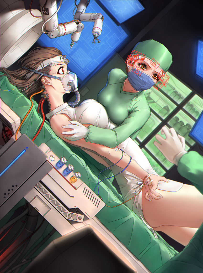1other 2girls absurdres bandages brown_hair cabinet cable commentary_request cybernetic_parts cyborg doctor earpiece electrodes error_message gloves held_down highres hospital_gown intravenous_drip latex latex_gloves looking_at_another mechanical_arm mechanical_backbone monitor multiple_girls orange_eyes original oxygen_mask qingmingtongzi red_eyes restrained struggling surgery surgical_mask sweat tube veins warship_girls_r