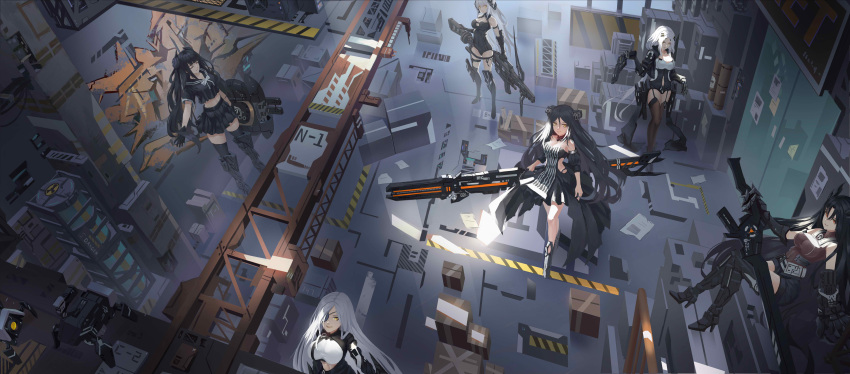 6+girls absurdres alchemist_(girls_frontline) armored_boots armored_gloves belly_peek black_dress black_hair black_leotard black_serafuku boots box cardboard_box closed_eyes crate dinergate_(girls_frontline) dreamer_(girls_frontline) dress elbow_gloves executioner_(girls_frontline) eyepatch gager_(girls_frontline) garter_straps girls_frontline gloves gun hair_ornament hairclip handgun hazard_stripes high_heels highres hunter_(girls_frontline) knee_boots leggings leotard long_hair midriff multiple_girls navel_cutout orange_eyes ouroboros_(girls_frontline) pistol radiation_symbol sangvis_ferri scaffolding school_uniform serafuku smile weapon white_hair wjn-rance yellow_eyes