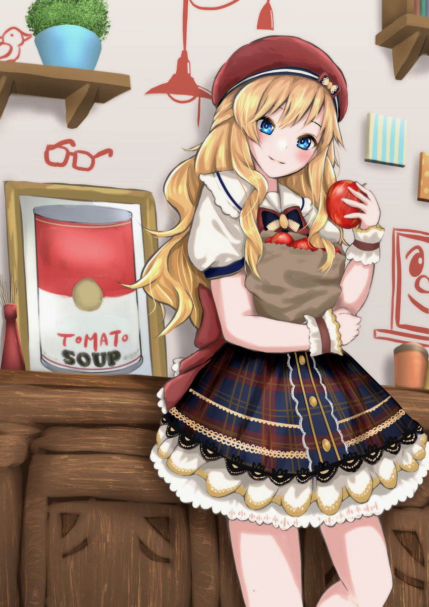 1girl absurdres apple bangs blonde_hair blue_eyes blush commentary_request dress food fruit hat highres holding holding_food holding_fruit idolmaster idolmaster_cinderella_girls idolmaster_cinderella_girls_starlight_stage indoors long_hair looking_at_viewer mee_0w0 ootsuki_yui plant red_headwear short_sleeves smile solo