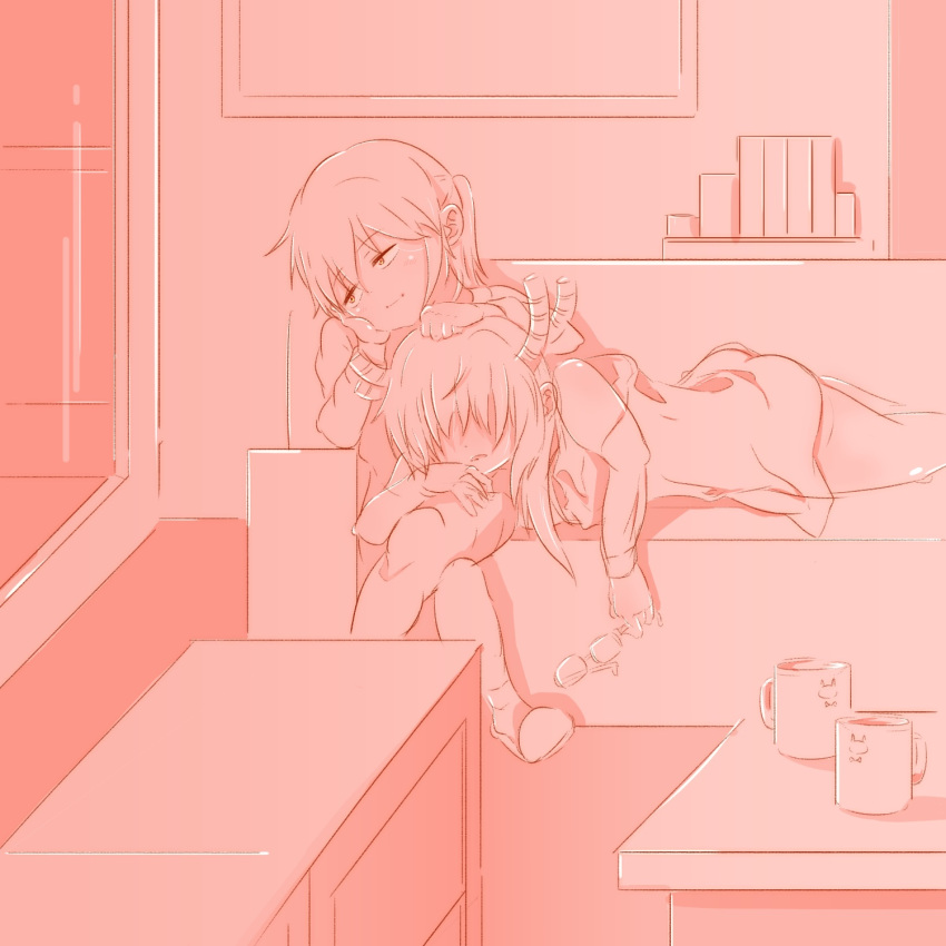 2girls ass bad_proportions book clenched_hand coffee_cup couch crossed_legs cup disposable_cup dragon_horns eyewear_removed hair_over_eyes highres horns indoors kobayashi-san_chi_no_maidragon kobayashi_(maidragon) light_smile multiple_girls pink_theme shelf short_hair sketch sleeping table tooru_(maidragon) yeee00 yuri