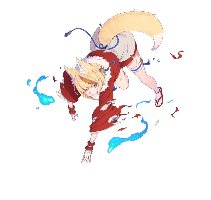 1girl absurdres animal_ears bangs blonde_hair brown_hair clenched_teeth fingerless_gloves fire_emblem fire_emblem_fates fire_emblem_heroes fox_ears fox_tail full_body fur_trim gloves hair_ornament highres japanese_clothes long_sleeves looking_away multicolored_hair nagisa_kurousagi official_art parted_lips sandals selkie_(fire_emblem) shiny shiny_hair short_hair solo tabi tail teeth thigh_strap torn_clothes transparent_background white_legwear yellow_eyes