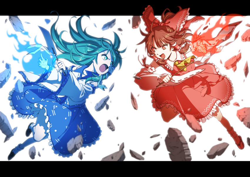 2girls arms_up battle black_footwear blue_skirt bow burning_hand commentary_request cravat debris detached_sleeves eye_contact folded_leg frilled_skirt frills frog_hair_ornament gohei green_eyes green_hair hair_blowing hair_bow hair_ornament hair_tubes hakurei_reimu inuno_rakugaki kochiya_sanae letterboxed limited_palette loafers long_hair looking_at_another multiple_girls oonusa open_mouth ponytail red_eyes red_footwear redhead ribbon-trimmed_sleeves ribbon_trim sandals serious shirt shoes short_hair simple_background skirt snake_hair_ornament touhou very_long_hair white_background white_legwear white_shirt yellow_neckwear