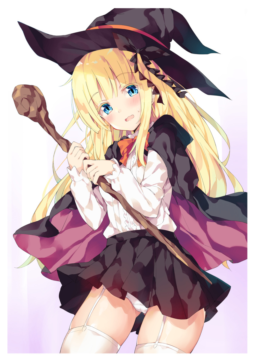 1girl black_cape black_headwear black_skirt blonde_hair blue_eyes blush bow brown_cape cape colored_eyelashes hat highres holding holding_staff hood hood_down hooded_cape juliet_persia kishuku_gakkou_no_juliet long_hair long_sleeves looking_at_viewer multicolored multicolored_cape multicolored_clothes open_mouth panties pleated_skirt puffy_long_sleeves puffy_sleeves red_bow shirt skirt sleeves_past_wrists solo staff sweat unacchi_(nyusankin) underwear very_long_hair white_panties white_shirt witch_hat