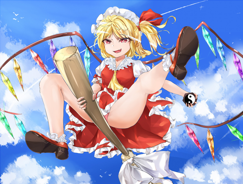 1girl :d ass bare_legs blonde_hair blue_sky broom broom_riding clouds cloudy_sky commentary_request crystal day fang flandre_scarlet flying full_body hat hat_ribbon highres medium_hair mini-hakkero mob_cap open_mouth panties pantyshot pink_panties puffy_short_sleeves puffy_sleeves red_eyes red_ribbon red_skirt red_vest ribbon role_reversal short_sleeves side_ponytail skirt sky smile solo theft thighs touhou underwear upskirt vampire vest wings