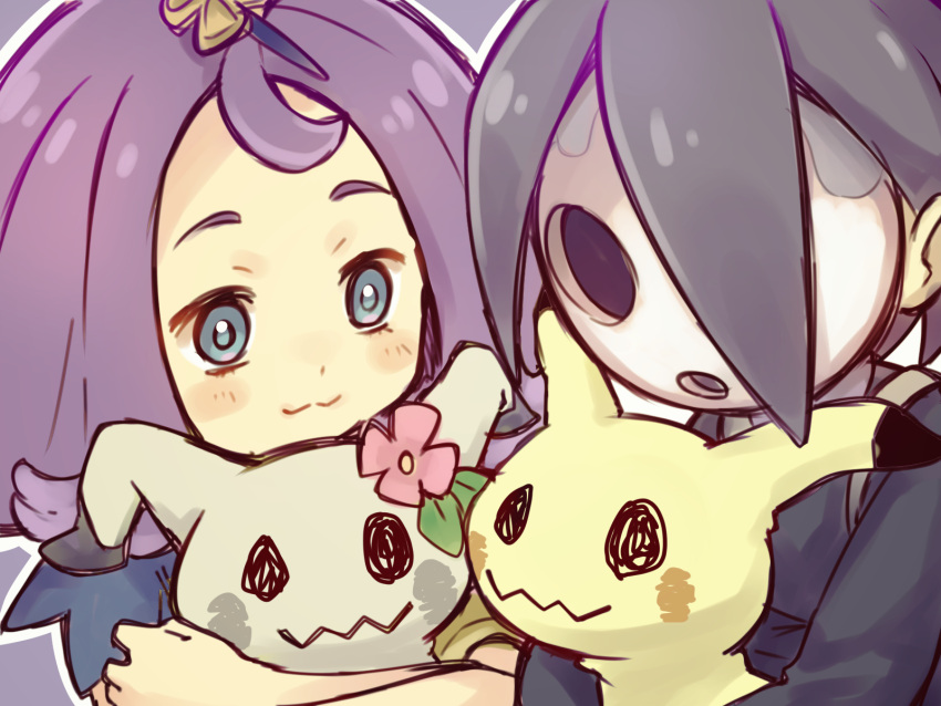 1boy 1girl :3 acerola_(pokemon) ahoge black_hair blue_eyes close-up closed_mouth flower gen_7_pokemon gym_leader highres holding holding_pokemon mask mimikyu onion_(pokemon) outline pokemon pokemon_(creature) pokemon_(game) pokemon_sm pokemon_swsh purple_background purple_hair rechain simple_background trial_captain white_outline