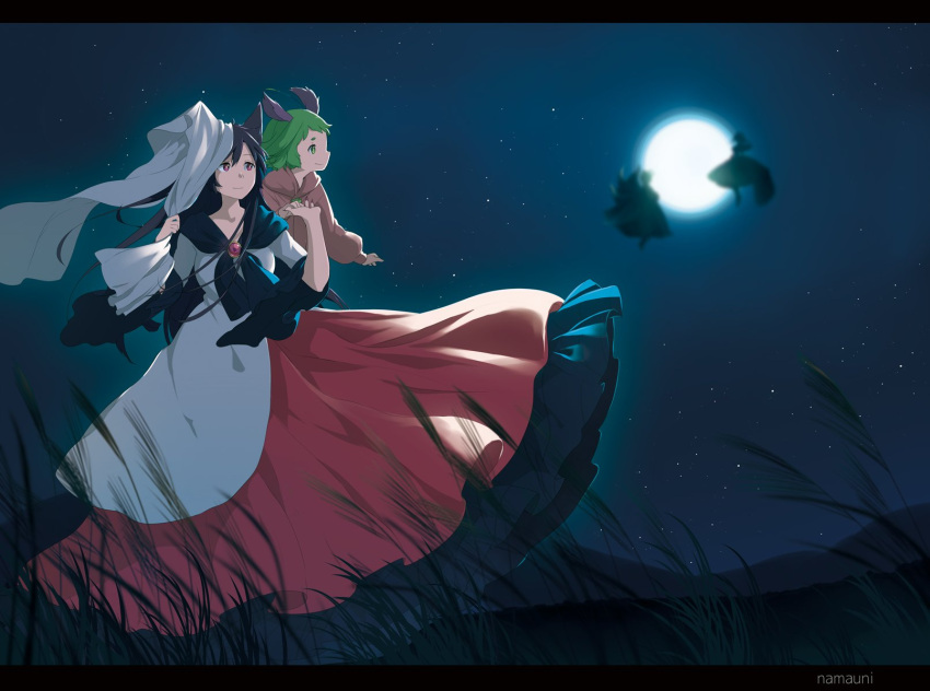 4girls animal_ears artist_name backlighting bangs breasts brooch brown_hair commentary_request cover dog_ears dress english_text floating fox_tail full_moon futatsuiwa_mamizou grass green_eyes green_hair hair_between_eyes hands_up height_difference highres imaizumi_kagerou jewelry kasodani_kyouko letterboxed long_hair long_sleeves looking_afar medium_breasts moon moonlight multicolored multicolored_clothes multicolored_dress multiple_girls multiple_tails namauni night night_sky outdoors pink_dress raccoon_tail red_dress red_eyes shawl short_hair silhouette sky smile star star_(sky) tail title touching touhou white_dress wide_sleeves wind wolf_ears yakumo_ran