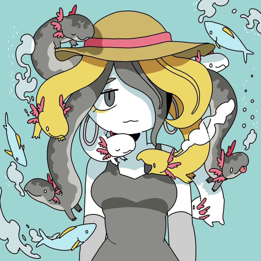 1girl :3 air_bubble animal axolotl blonde_hair blue_background breasts breath bubble closed_mouth commentary dress earrings elbow_gloves english_commentary eyeliner fish gloves grey_dress grey_earrings grey_eyes grey_gloves grey_hair hair_over_one_eye hat hat_ribbon highres hoop_earrings jewelry living_hair long_hair looking_at_viewer makeup medium_breasts multicolored_hair o_o original panapana red_ribbon ribbon sanpaku simple_background sleeveless sleeveless_dress slit_pupils solo sun_hat sundress upper_body white_hair white_skin yellow_headwear