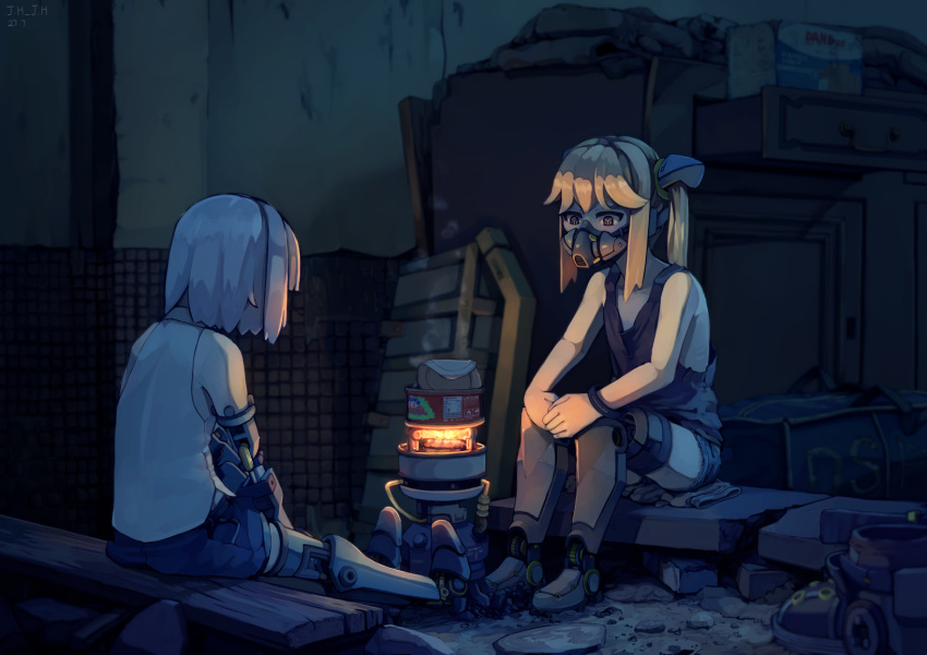 2girls android blonde_hair can canned_food chinese_commentary commentary_request cooking cyborg dark highres j.h_j.h mask mechanical_arm mechanical_legs multiple_girls original portable_stove ruins short_hair silver_hair sitting steam twintails