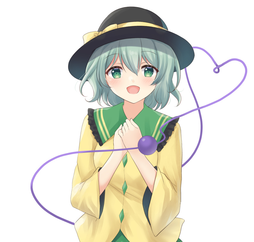 1girl aqua_hair black_headwear breasts eyebrows_visible_through_hair frilled_shirt_collar frills green_eyes green_skirt hair_between_eyes hands_on_own_chest hands_together hat hat_ribbon heart heart_of_string highres komeiji_koishi kurumi_lm light_blush long_sleeves looking_at_viewer open_mouth ribbon shirt short_hair simple_background skirt small_breasts solo standing third_eye touhou upper_body white_background yellow_shirt