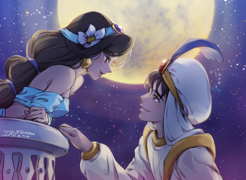 1boy 1girl aladdin_(character) aladdin_(disney) artist_name bare_shoulders black_hair breasts brown_eyes brown_hair commentary_request dark_skin dated disney earrings feathers flower hair_flower hair_ornament hat highres ika_(4801055) jasmine_(disney) jewelry long_hair looking_at_another moon small_breasts smile white_headwear
