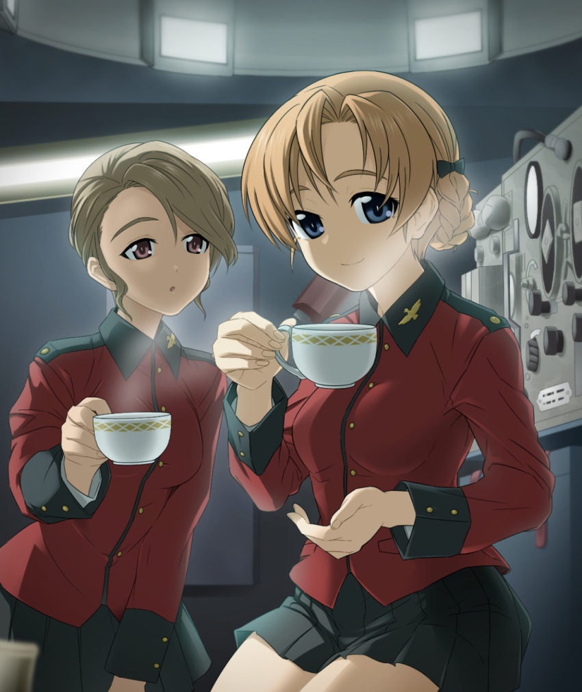 2girls :o bangs black_bow black_skirt blue_eyes bow braid brown_hair closed_mouth commentary cup epaulettes girls_und_panzer hair_bow highres holding holding_cup insignia jacket leaning_forward long_sleeves looking_at_viewer military military_uniform miniskirt multiple_girls orange_hair orange_pekoe original parted_bangs parted_lips pleated_skirt red_eyes red_jacket saitou_gabio short_hair sitting skirt st._gloriana's_military_uniform steam swept_bangs tank_interior teacup tied_hair uniform