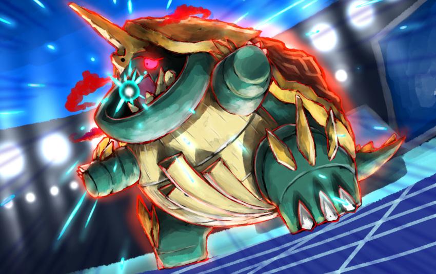 attack clouds drednaw gen_8_pokemon gigantamax kaosu_(kaosu0905) lights pokemon pokemon_(game) pokemon_swsh red_eyes stadium turtle