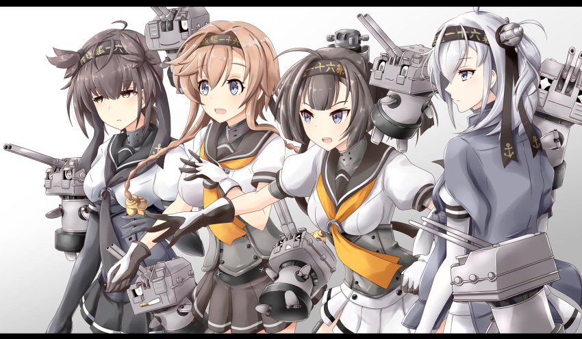 +_+ 4girls 5others ahoge akizuki_(kantai_collection) anchor_symbol black_bodysuit black_gloves black_hair black_headband black_sailor_collar black_skirt bodysuit braid brown_hair chou-10cm-hou-chan chou-10cm-hou-chan_(hatsuzuki's) chou-10cm-hou-chan_(suzutsuki's) chou-10cm-hou-chan_(teruzuki's) clothes_writing commentary_request corset cowboy_shot from_behind gloves gradient gradient_background grey_background grey_eyes grey_jacket grey_skirt gudon_(iukhzl) hachimaki hair_flaps hair_ornament hairband hatsuzuki_(kantai_collection) headband highres jacket jacket_on_shoulders kantai_collection light_brown_hair long_hair medium_hair miniskirt multicolored multicolored_clothes multicolored_gloves multiple_girls multiple_others neckerchief one_side_up open_mouth pantyhose pleated_skirt ponytail profile propeller_hair_ornament round_teeth sailor_collar school_uniform serafuku short_hair short_sleeves silver_hair simple_background skirt suzutsuki_(kantai_collection) teeth teruzuki_(kantai_collection) twin_braids two-tone_gloves upper_teeth white_background white_bodysuit white_gloves white_neckwear white_skirt yellow_eyes yellow_neckwear