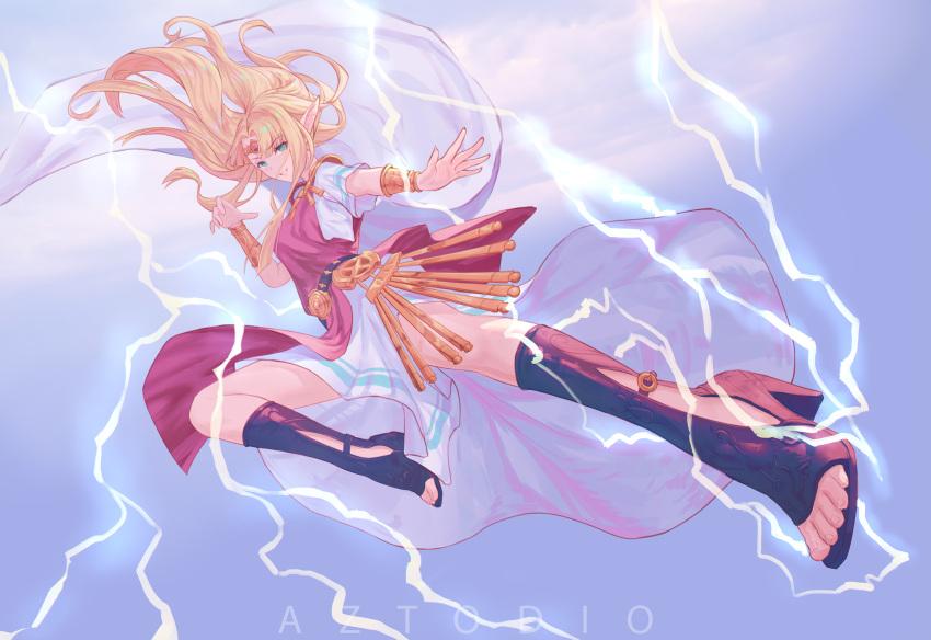 1girl azto_dio blonde_hair blue_eyes bracelet cape clouds dress earrings electricity elf flying_kick full_body gloves gown high_heels highres hylian jewelry kicking lightning looking_at_viewer midair nintendo nintendo_ead open_hands pointy_ears princess_zelda smile solo super_smash_bros. super_smash_bros._ultimate the_legend_of_zelda the_legend_of_zelda:_a_link_between_worlds tiara toeless_legwear triforce