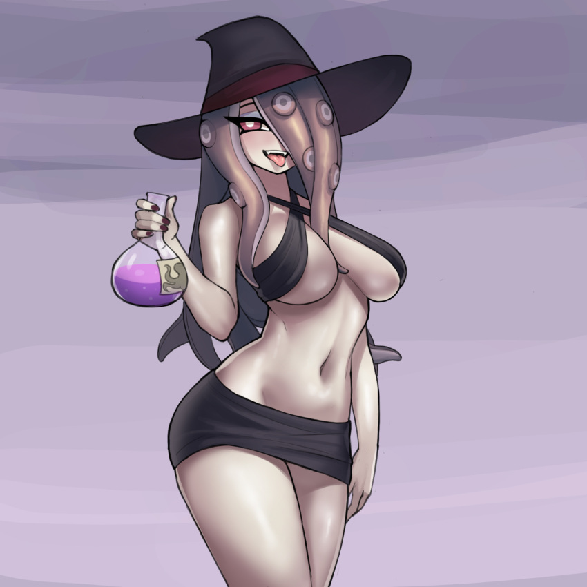1girl arm_at_side bare_shoulders black_halter_top black_headwear black_skirt breasts breasts_apart criss-cross_halter donburikazoku evil_grin evil_smile fangs grin hair_between_breasts hair_over_one_eye halterneck hand_up hat highres holding_flask large_breasts lavender_background lavender_hair legs_together little_witch_academia long_hair looking_at_viewer navel octopus_print open_mouth pale_skin pencil_skirt potion purple_nails round-bottom_flask simple_background skirt smile solo standing sucy_manbavaran tentacle_hair tongue tongue_out violet_eyes wide_hips witch witch_hat