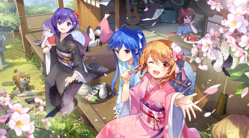 5girls bird black_kimono blue_hair blush brown_eyes brown_hair cherry_blossoms closed_mouth cup day dog flower food fruit hair_flower hair_ornament highres japanese_clothes kimono long_hair looking_at_viewer multiple_girls one_eye_closed open_mouth original outdoors ponytail purple_hair red_eyes short_hair short_ponytail sitting smile table teacup teapot tracyton tray violet_eyes watermelon