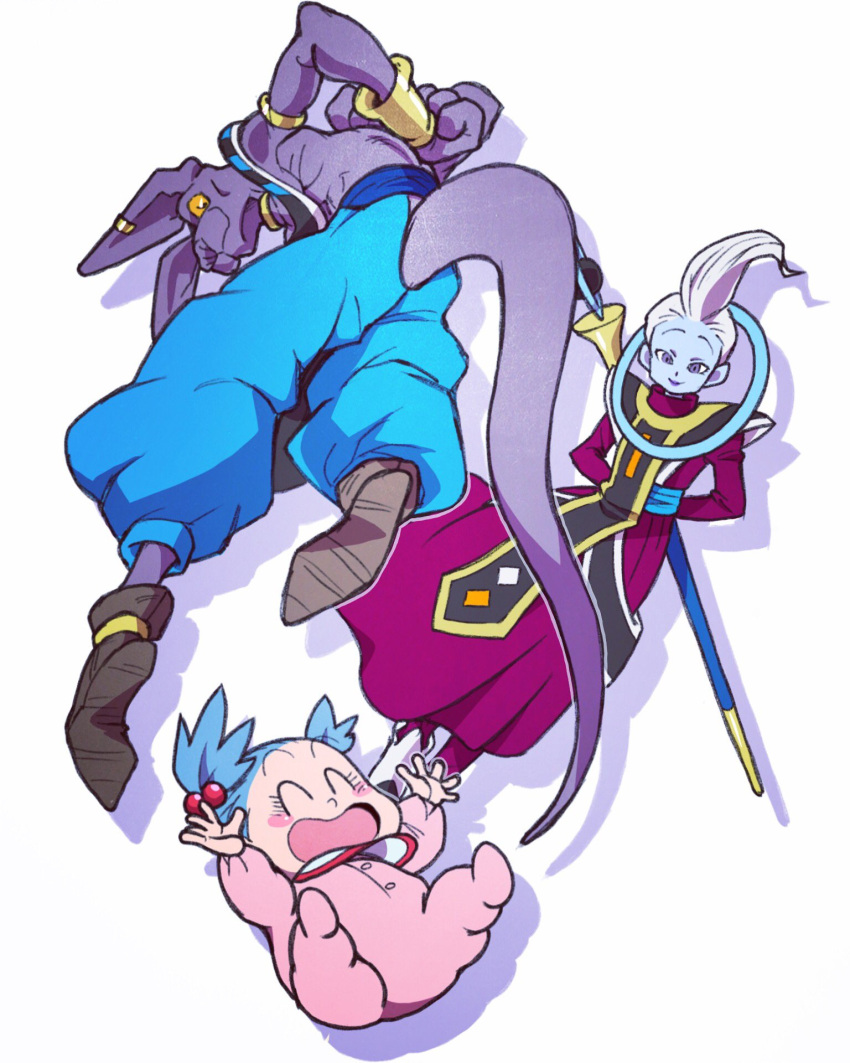 1girl 2boys :d ^_^ arms_behind_back baby baggy_pants beer_oekaki beerus blue_hair blue_pants blue_skin blush blush_stickers bra_(dragon_ball) bracelet closed_eyes commentary_request dragon_ball dragon_ball_super dragon_ball_super_broly dress ear_piercing egyptian_clothes eyebrows_visible_through_hair eyelashes floating from_behind full_body happy highres jewelry laughing long_sleeves looking_at_another looking_down multiple_boys open_mouth outstretched_arms pants piercing purple_dress shadow shirtless simple_background smile twintails violet_eyes whis white_background white_hair yellow_eyes