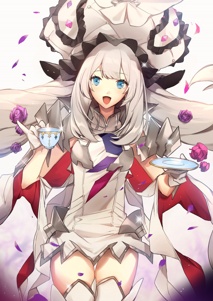 1girl :d armor armored_dress blue_eyes cowboy_shot cup dress eyebrows_visible_through_hair fate/grand_order fate_(series) flower gloves grey_background hair_flower hair_ornament hat highres holding holding_cup holding_saucer large_hat long_hair looking_at_viewer marie_antoinette_(fate/grand_order) no-kan open_mouth petals pinky_out rose rose_petals saucer short_dress silver_hair sleeveless sleeveless_dress smile solo teacup thigh-highs thigh_gap twintails white_dress white_gloves white_headwear white_legwear zettai_ryouiki