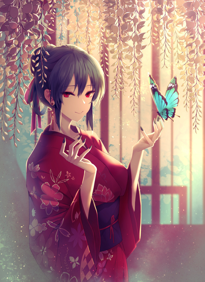 1girl absurdres black_hair black_nails bug butterfly earrings floral_print hair_between_eyes hair_bun hair_ribbon highres insect japanese_clothes jewelry kimono limeblock obi original red_eyes red_kimono red_ribbon ribbon sash sidelocks solo wide_sleeves