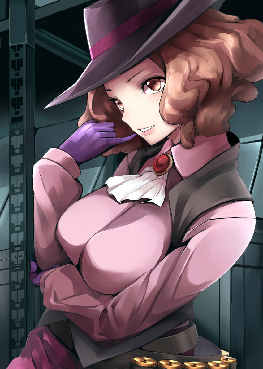 1girl ascot brown_eyes brown_hair gloves grin hat highres indoors long_sleeves medium_hair nemu_(nebusokugimi) okumura_haru persona persona_5 pink_shirt purple_gloves purple_headwear shirt smile solo upper_body white_neckwear