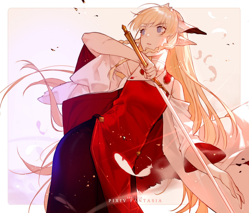 1girl black_skirt blonde_hair blue_eyes braid copyright_name detached_sleeves dress falia_the_queen_of_the_mountains feathers highres holding holding_sword holding_weapon joseph_lee long_hair looking_afar pixiv_fantasia pixiv_fantasia_last_saga pointy_ears red_dress sidelocks simple_background skirt solo standing sword twin_braids very_long_hair weapon wide_sleeves