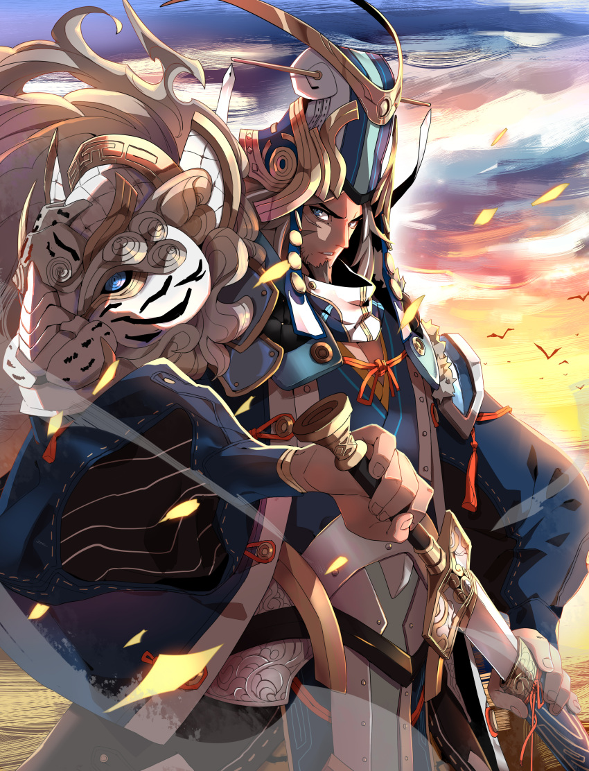 1boy absurdres armor backlighting blue_eyes character_request commentary_request facial_hair goatee hand_on_hilt helmet highres makai male_focus scabbard scar sengoku_taisen sheath shoulder_armor solo sunset sword unsheathing weapon