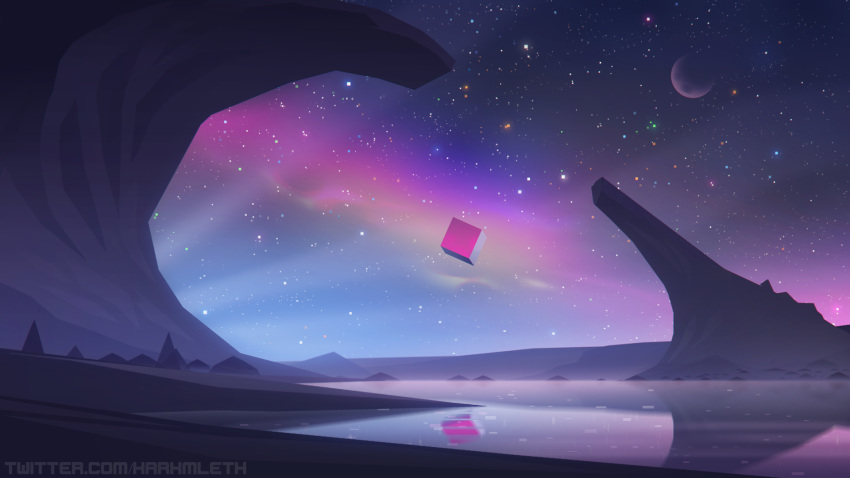commentary cube desert english_commentary floating floating_object highres landscape mathias_leth night night_sky no_humans original reflection sky space star_(sky) starry_sky surreal twitter_username vaporwave wallpaper water