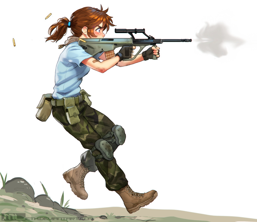 1girl aiming assault_rifle bandaid_on_arm belt_pouch black_hair blue_eyes boots brooke_(mathias_leth) brown_hair bullpup camouflage camouflage_pants combat_boots commentary dirty_arm english_commentary finger_on_trigger fingerless_gloves firing freckles from_side full_body gloves gun highres knee_pads mathias_leth military_operator original outdoors pants pouch rifle running scarf scope serious shell_casing shirt short_ponytail smoke smoking_gun solo steyr_aug t-shirt weapon white_background