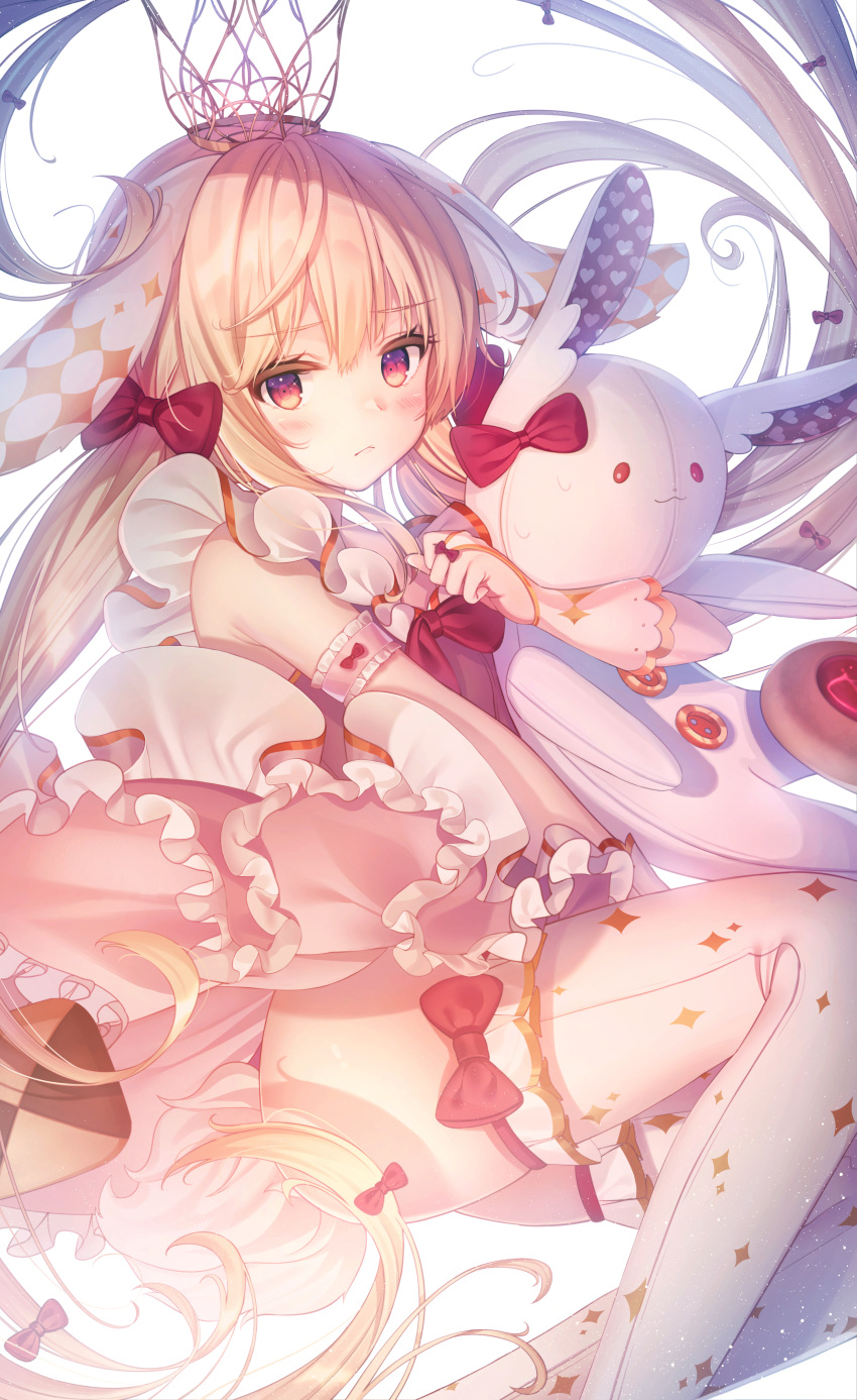 1girl :< absurdres animal_ears arm_garter ass bare_shoulders biscuit blonde_hair bow bunny_girl bunny_tail buttons closed_mouth crown doll_hug dress floating_hair floppy_ears food frilled_dress frills hair_bow heart highres kyubi long_hair looking_at_viewer original pink_dress rabbit_ears red_bow red_eyes solo stuffed_animal stuffed_bunny stuffed_toy tail thigh-highs very_long_hair white_legwear