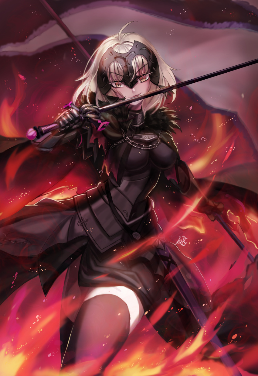 1girl absurdres armor armored_dress bangs banner breasts cape capelet chain cloak commentary_request fate/grand_order fate_(series) fiery_background fire flag fur-trimmed_cape fur_collar fur_trim gauntlets headpiece highres holding holding_flag holding_sword holding_weapon jeanne_d'arc_(alter)_(fate) jeanne_d'arc_(fate)_(all) kuro_(ning2763) large_breasts short_hair silver_hair solo sword thigh-highs tsurime weapon yellow_eyes