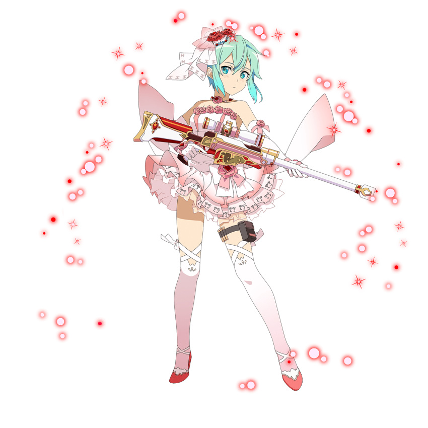1girl blue_eyes blue_hair butler closed_mouth dress elbow_gloves full_body gloves gun hair_between_eyes highres holding holding_gun holding_weapon layered_dress looking_at_viewer official_art pgm_hecate_ii pink_dress pink_footwear pink_ribbon ribbon shiny shiny_hair short_dress short_hair sidelocks sinon sleeveless sleeveless_dress solo striped striped_dress sword_art_online thigh_strap transparent_background two-tone_dress weapon wedding_dress white_dress white_gloves white_legwear