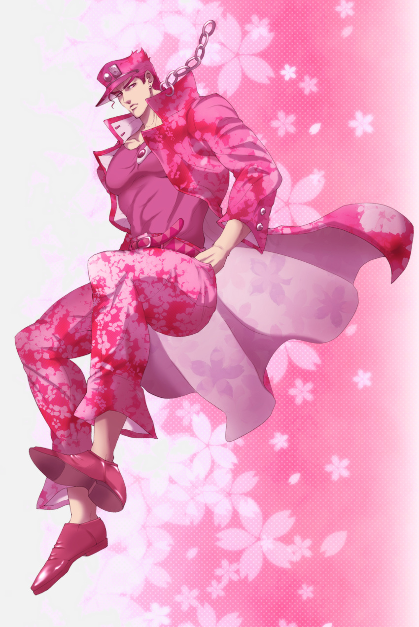 1boy alternate_hair_color belt chain cherry_blossoms closed_mouth earrings floral_print gakuran hands_in_pockets hat highres jewelry jojo_no_kimyou_na_bouken kuujou_joutarou long_coat looking_at_viewer male_focus pants patterned_background pink_background pink_hair pink_pants pink_shirt pink_theme school_uniform shirt shooarashi solo stud_earrings thick_eyebrows
