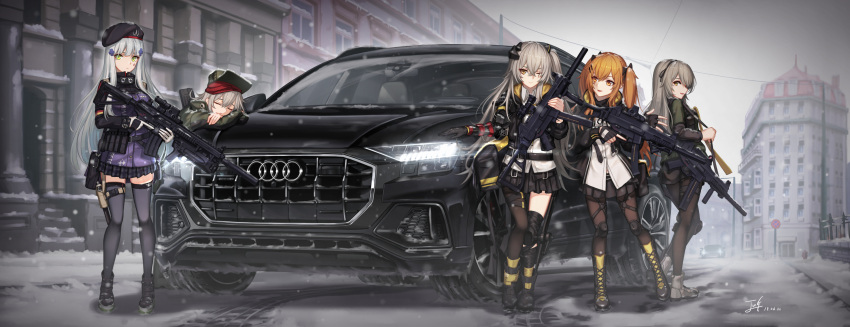 404_(girls_frontline) 5girls ankle_boots assault_rifle asymmetrical_legwear audi audi_q8 baek_hyang bangs beret black_legwear black_skirt blunt_bangs blush boots breasts brown_eyes brown_hair car city cityscape commentary cross-laced_footwear crossed_bangs dated eyebrows_visible_through_hair facial_mark fingerless_gloves full_body g11_(girls_frontline) germany girls_frontline gloves green_eyes grey_hair ground_vehicle gun h&k_g11 h&k_hk416 h&k_ump h&k_ump40 h&k_ump45 h&k_ump9 hair_between_eyes hair_ornament hairclip hat headgear heckler_&_koch highres hk416_(girls_frontline) holding holding_gun holding_weapon hood hood_down hooded_jacket jacket knee_boots lace-up_boots large_breasts leaning_against_vehicle long_hair looking_at_viewer mechanical_arm medium_breasts military_jacket mod3_(girls_frontline) motor_vehicle multiple_girls one-eyed one_side_up open_clothes open_mouth outdoors pantyhose plaid plaid_skirt pleated_skirt revision ribbon rifle road scar scar_across_eye scarf shirt shoes shorts signature silver_hair skirt smile sneakers snow snowing street submachine_gun teardrop thigh-highs trigger_discipline twintails ump40_(girls_frontline) ump45_(girls_frontline) ump9_(girls_frontline) untucked_shirt very_long_hair weapon white_shirt yellow_eyes zettai_ryouiki