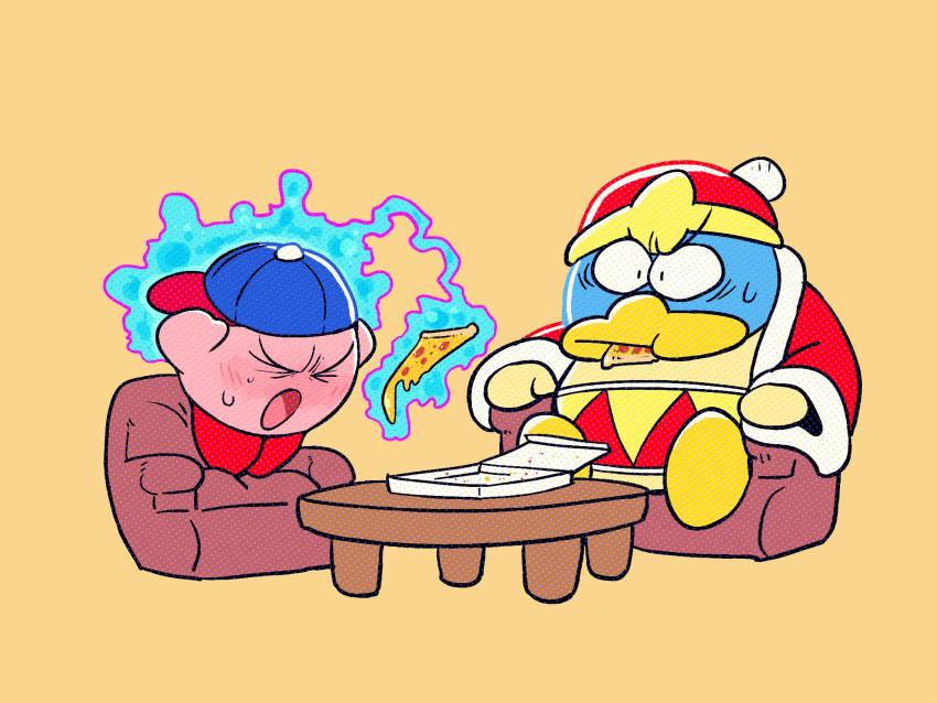 2boys animal backwards_hat baseball_cap ben-day_dots bird blue_headwear chair closed_eyes coat food hal_laboratory_inc. hat highres hoshi_no_kirby king_dedede kirby kirby_(series) meme mother_(game) mother_2 ness ness_(cosplay) nintendo penguin pink_puff_ball pizza pizza_box rariatto_(ganguri) red_coat red_headwear screentones sitting super_smash_bros. sweat table telekinesis