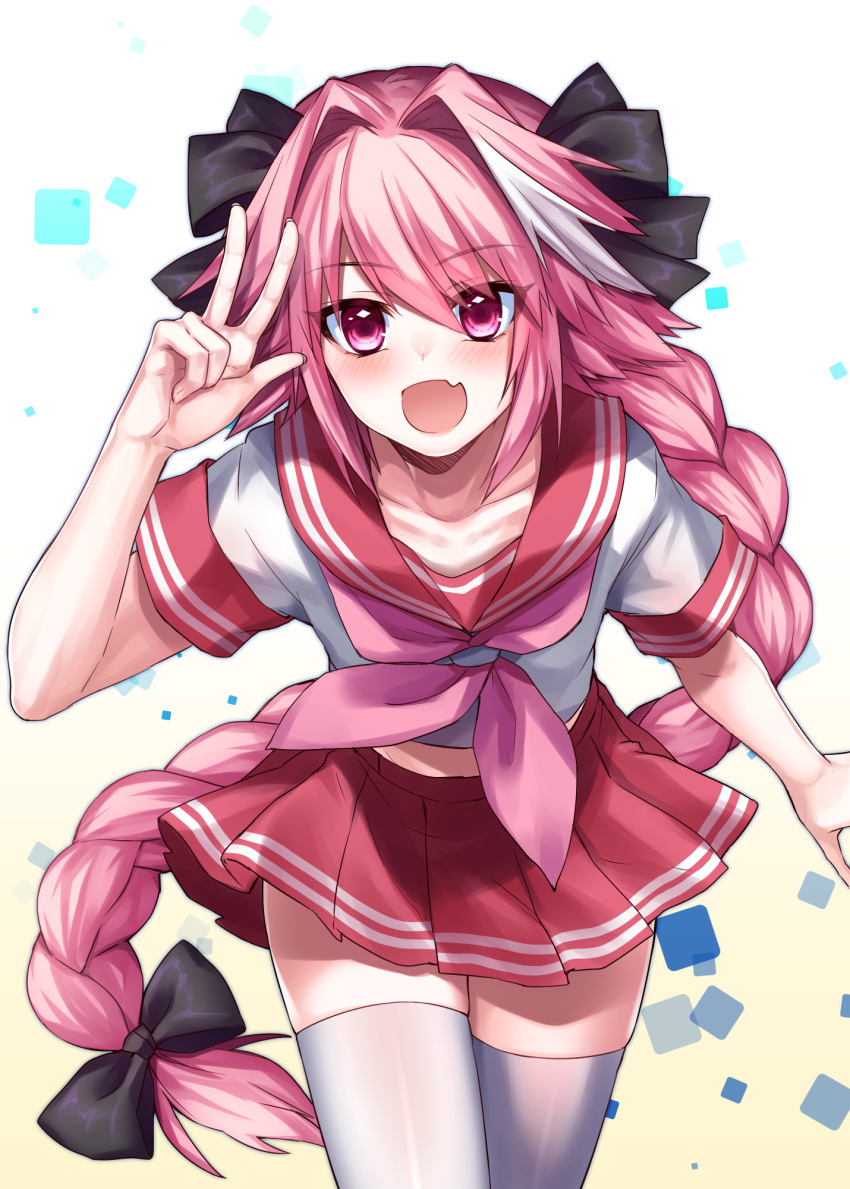 1boy astolfo_(fate) black_bow black_ribbon blush bow braid eyebrows_visible_through_hair fang fate/apocrypha fate/grand_order fate_(series) hair_ribbon highres leaning_forward long_braid long_hair male_focus multicolored_hair navel open_mouth otoko_no_ko pink_hair red_sailor_collar red_serafuku red_skirt ribbon rom sailor_collar single_braid skin_fang skindentation skirt streaked_hair thigh-highs underwear v very_long_hair violet_eyes white_legwear