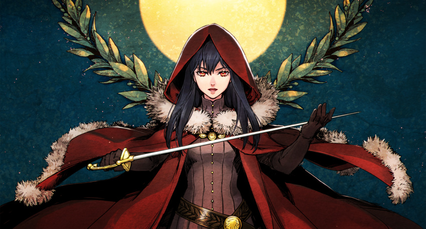 1girl black_hair blue_background cape cloak commentary_request full_moon fur_trim gloves highres holding holding_sword holding_weapon hood hooded_cloak leslie_the_moon_queen long_hair looking_at_viewer moon olive_branches open_mouth pixiv_fantasia pixiv_fantasia_last_saga red_cape red_cloak red_eyes red_hood sankyou simple_background standing sword weapon