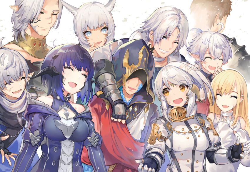 4girls 5boys :d ahoge akizone animal_ears au_ra bangs bare_shoulders black_gloves black_hair blonde_hair blue_hair breasts brown_hair bruise bruise_on_face closed_eyes collarbone commentary dress english_commentary eyebrows_visible_through_hair facial_mark final_fantasy final_fantasy_xiv gloves grin happy highres injury jacket long_hair long_sleeves medium_breasts medium_hair miqo'te multiple_boys multiple_girls open_mouth original parted_bangs pointy_ears scales short_hair smile white_dress white_eyes white_hair white_jacket yellow_eyes